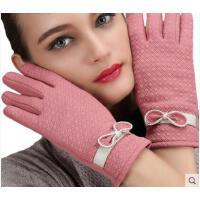 美观时尚蝴蝶结手套女季保暖绒布修手触摸屏女士手套
