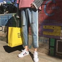 2018春季韩版男士牛仔裤潮宽松九分裤破洞直筒休闲长裤子