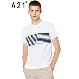 以纯线上品牌a21 2017夏装新款短袖POLO衫 简约条纹翻领短袖衫