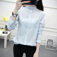 小清新休闲蓝白竖条纹衬衫立领衬衣女长袖2018春夏季新款