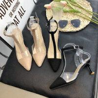 女士高跟鞋透明水晶鞋 时尚一字扣带细跟尖头单鞋女 新款chin包头凉鞋女