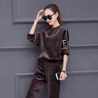加绒加厚卫衣女秋冬金丝绒时尚2017新款两件套韩版运动套装双面绒