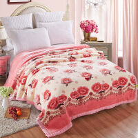 伊迪梦家纺 加厚双层加大拉舍尔毛毯 超柔大红保暖婚庆盖毯 春秋冬季毯子单双人床毛绒毯BD802