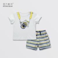 活力熊仔 活力熊仔男女童装韩版婴儿衣服夏季穿棉短袖T恤短裤两件套OEM加工