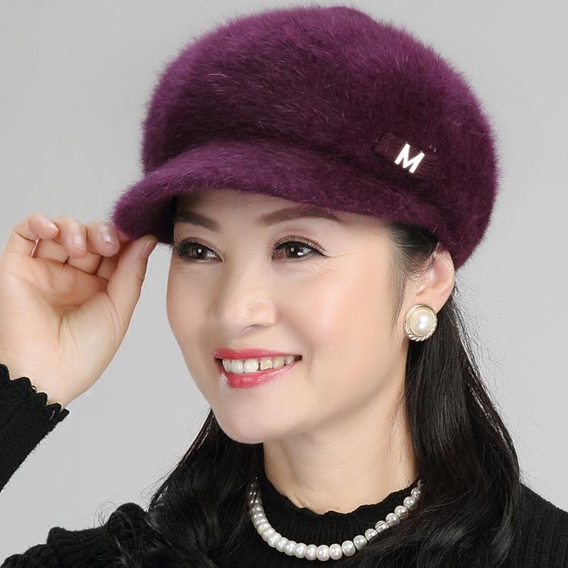 毛线帽子女冬韩版护耳保暖帽加绒老年人帽妈妈帽婆婆帽棒球针织帽 有舌坚挺 时尚前卫 加绒保暖 顺滑柔软