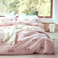 可爱针织棉四件套棉被套床单枇杷印花棉双人床单人三件套