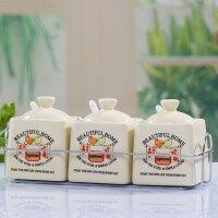 普润 卡通图案方形陶瓷调味罐调味瓶调料盒三件套 鸟