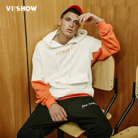 VIISHOW2018春季新款卫衣男 套头连帽白色拼接韩版外套潮 学生装