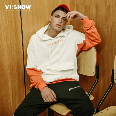 VIISHOW2018春季新款卫衣男 套头连帽白色拼接韩版外套潮 学生装满199减20 满299减30 满499减60 全场包邮