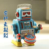 80后经典 怀旧玩具 复古上链 铁皮发条玩具 天线敲锣机器人 MS408 会行走 会敲鼓