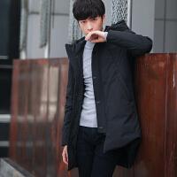 冬季青年男士中长款羽绒服男冬装韩版修身款连帽灰鸭绒男款外套潮 黑色