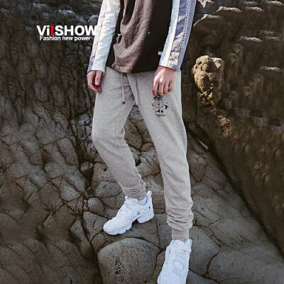 VIISHOW2017秋装新品休闲长裤男字母装饰卫裤小脚裤男士裤子潮满199减20 满299减30 满499减60 全场包邮