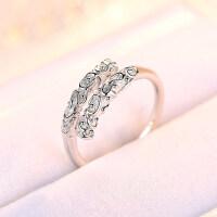 20180903023134833时尚心形镶钻戒指女日韩s925银简约钻戒指环情侣开口戒指