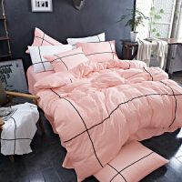 韩式少女床上四件套简约色被套1.8m学生宿舍单人1.2米床三件套 1.2米床 六件套(三件套+枕芯1只+4斤被芯1条