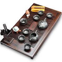 唐丰功夫茶具紫砂茶杯组合整套黑檀实木茶盘套装家用简约现代