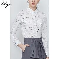 Lily2019秋新款女装个性字母数字印花双口袋宽松长袖衬衫女4928