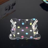 方形透明果盘塑料圆点盘子水果盘果盆干果盘零食盘