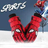 儿童保暖手套冬季蜘蛛侠男孩五指防水小学生玩雪加绒滑雪手套女孩