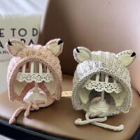 婴儿帽子秋冬手工婴幼儿女宝宝公主毛线帽可爱男童护耳帽