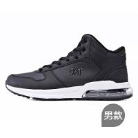361男鞋高帮休闲运动鞋子中帮跑步鞋男黑白色皮面防水跑鞋