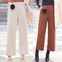 2017年冬季裤子百搭纯色修身显瘦韩版气质百搭甜美九分裤高腰