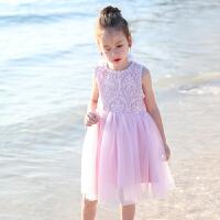 夏季女童背心裙中大童女孩蕾丝连衣裙新款女包百褶裙无袖裙子