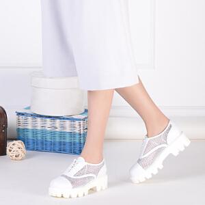 Daphne/达芙妮 厚底女鞋深口女单鞋 网面镂空鸟巢鞋松糕鞋