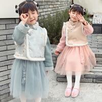 唐装汉服套装冬季复古装儿童中国风女宝宝拜年服