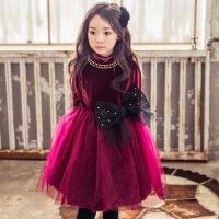 韩国童装女童裙子秋冬儿童连衣裙加绒加厚宝宝圣诞礼服公主裙纱裙