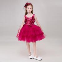 儿童演出服小女孩红色拖尾礼服 花童公主裙女童礼服六一儿童礼服 酒红色