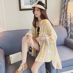 AGECENTRE春装2018新款韩版bf风宽松长袖格子衬衫女中长款防晒开衫衬衣外套