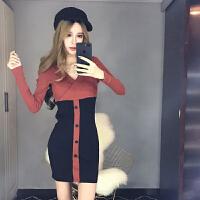 冬季夜店女装秋冬新款时尚名媛性感深V领修身显瘦包臀连衣裙