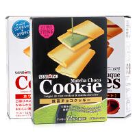 日本进口零食品三立巧克力夹心饼干抹茶味酥薄曲奇饼干12枚入