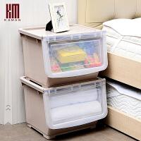 大号塑料收纳箱可叠加衣服玩具零食品有盖整理箱厨房储物箱置物架