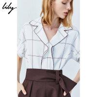 【2件4折到手价:211.6元】 Lily夏新款时尚荷叶边格子宽松气质中袖衬衫女119210C4506