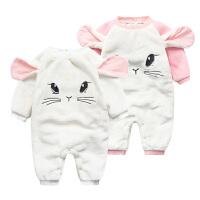 宝宝连体衣服女婴儿0岁2个月冬装男童潮款内衣新生儿秋冬季睡衣