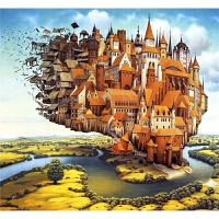 儿童玩具礼物唯美风景 空中城堡1000片木质拼图2000