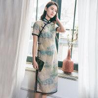 我布2018夏新款复古文艺印花盘扣连衣裙女中国风蕾丝花边改良旗袍