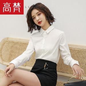 【1件3折 到手价:39元】高梵新款韩版时尚气质长袖衬衫女 工作服职业正装打底工装女