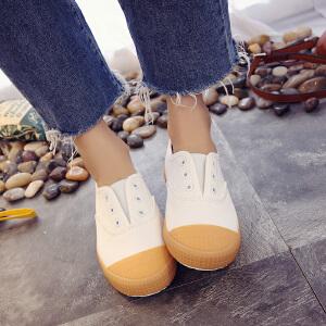 环球 小白鞋女2017新款百搭韩版休闲鞋套脚帆布鞋学生板鞋