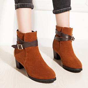 【满200减100】【毅雅】时尚粗跟保暖粗高跟短靴子女靴子女鞋子7941623