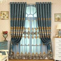欧式绣花窗帘成品遮光 定制客厅落地窗窗帘北欧风雪尼尔布料
