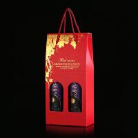 红酒盒礼盒包装盒纸盒葡萄酒盒单双支手提袋子洋酒通用2只装礼品七夕 抖音 亮红色 葡萄藤大号双