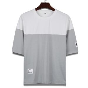 男士休闲半袖T恤 男拼接拼色T恤打底衫短袖