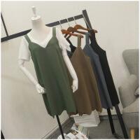 夏季新品宽松纯色V领无袖背带连衣裙女潮23771