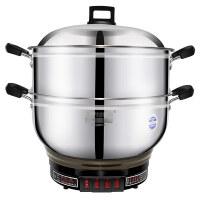 半球(Peskoe)28CM多功能电热锅 4L不锈钢电锅 电炒锅 电蒸锅 多用途锅