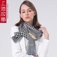 上海故事2018韩版新款羊毛印花披肩女款夏季拼接围巾披肩百搭两用