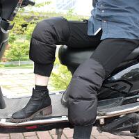 新款冬季羽绒护膝加厚保暖骑车防风护膝松紧插扣中长款电动车护膝