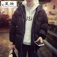 夏妆冬季韩版青少年潮流棉袄加厚棉衣男士连帽面包服冬装短款保暖外套