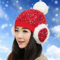 冬季帽子可爱女韩版加厚保暖针织帽学生秋冬天护耳毛线帽潮耳包帽